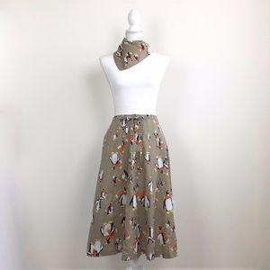 Vtg Penguin Skirt & Bandana Set 1970s